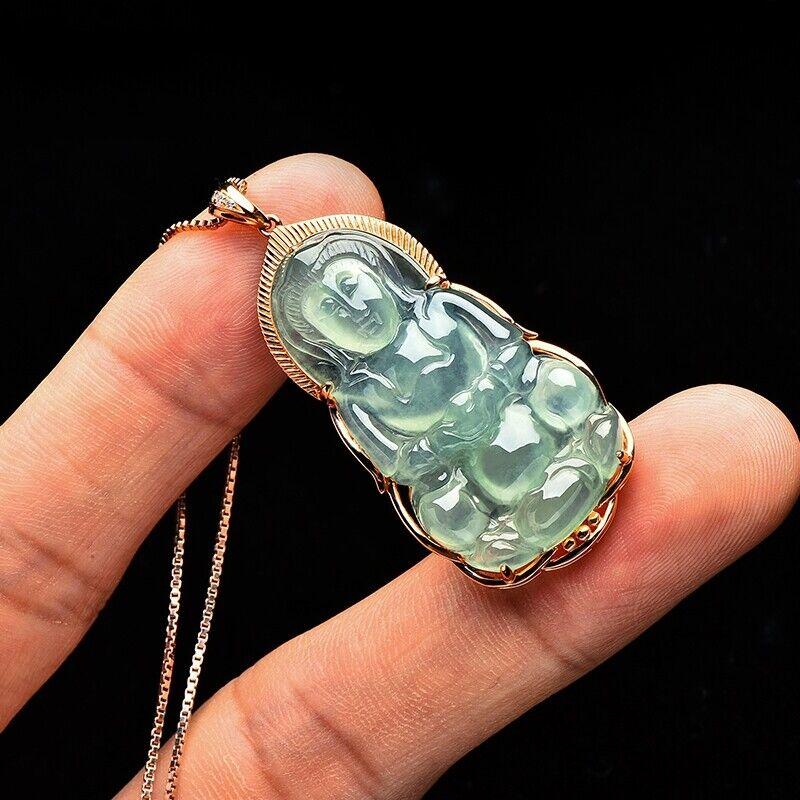 Burma Certified Grade A Ice Jadeite Jade 18K Gold Kwan yin GuanYin Pendant #5339