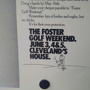 Vintage The Foster Golf Weekend Drunk's Poster, Original Kingston Kingston Area image 7