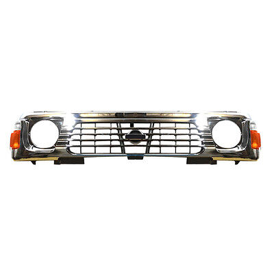 Chrome Front Grill Grille Mesh +Corner Lamp Vent For Nissan Patrol Y60 1990-1996
