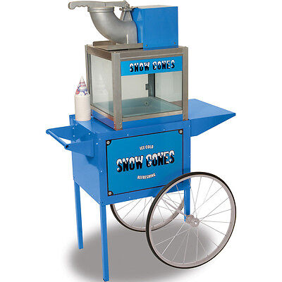 Benchmark Snow Cone Maker Shaved Crushed Ice Machine W Trolley Cart Stand - New