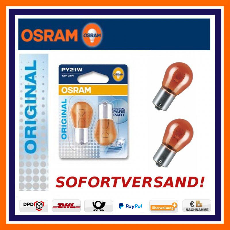 2x OSRAM Genuine Line PY21W Indicator Bulb N Front Land Rover Lexus Mazda