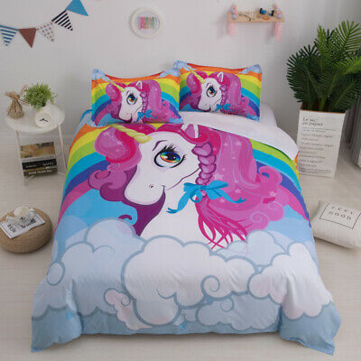 Cartoon Rainbow Unicorn Bedding Set Kids Duvet/Comforter Cover Twin Queen Size