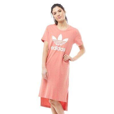 Adidas Long Shirt Damen Jerseykleid Trefoil Dress Logo T-Shirt  ROSE  Da-03  NEU