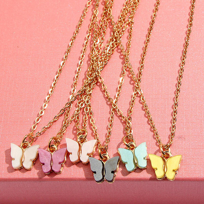Butterfly Beads Necklace 20pcs Wholesale lots Gold P Animal pendants necklace