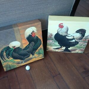 Large Sized Hens and Roosters Wall Art - 4 Pieces