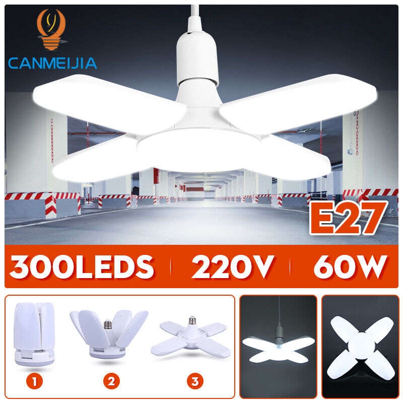 6000LM E27 LED Garage Light Bulb Deformable Ceiling Fixture Lights Shop Lamps Chandeliers & Ceiling Fixtures
