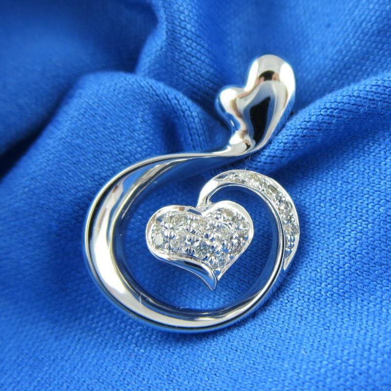 KALVION 18K White Gold IGI Certified Diamond 0.11 CT J Pendant Necklace Heart