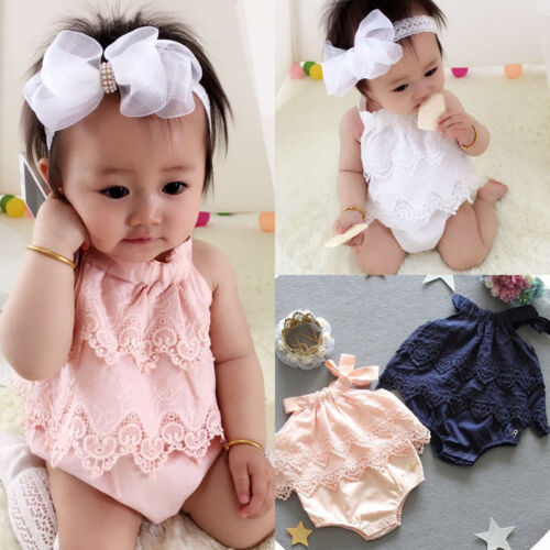 Canis Newborn Baby Girls Lace Romper Bodysuit Jumpsuit Outfi