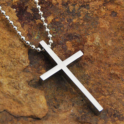 Unisex Silver Fashion Jewelry Stainless Steel Cross Pendant Set Chain Necklace
