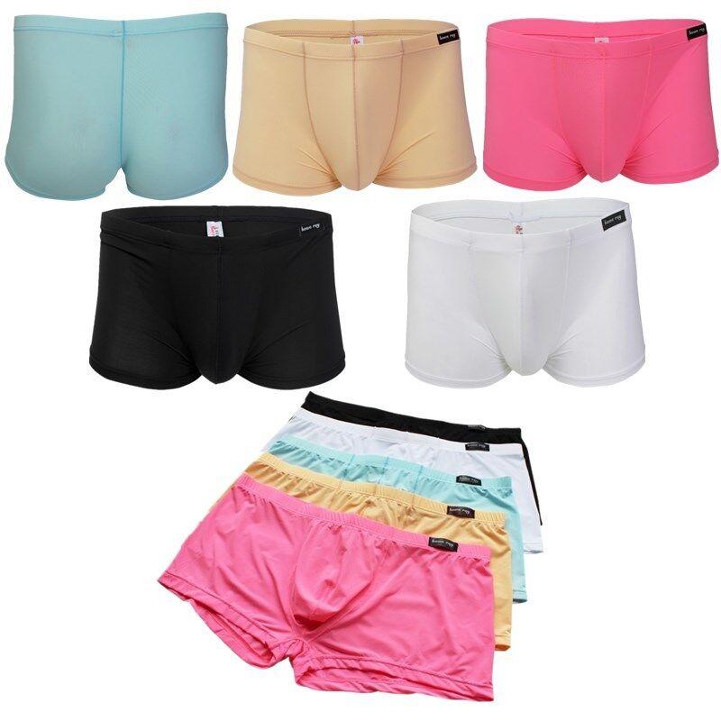 Mens Boxer Briefs Trunks Pants Shorts Underwear Ice Silk Underpants Lingerie