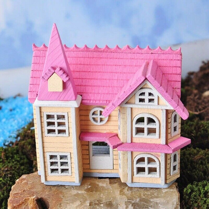 DIY Dollhouse Mini Pink House Cottage Wooden Toy Doll/'s Accessory Set @ev