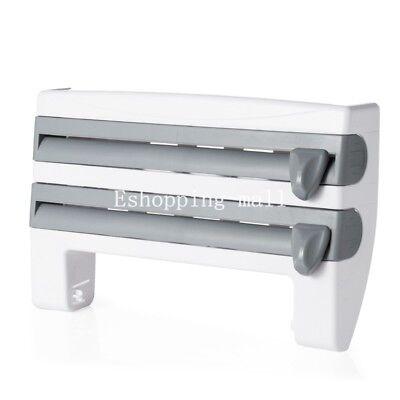 3 In 1 Kitchen Roll Dispenser Cling Film Tin Foil Holder Rack Wall Mounted