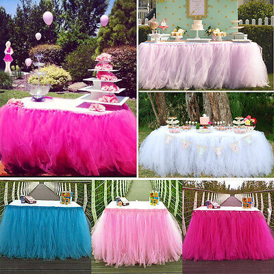 US Stock TUTU Table Skirt For Wedding Birthday Baby Shower Tableware Decor Tulle](Tulle Table Skirt)