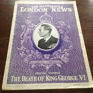 "1952 THE ILLUSTRATED LONDON NEWS "" THE DEATH OF KING GEORGE Vl"""