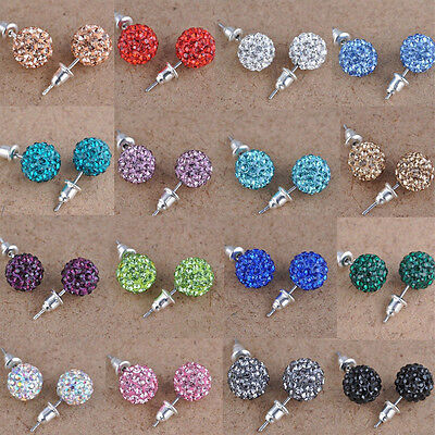 10 mm Austria Crystal Shiny Pave Disco Clay Ball Beads Ear Stud Earrings Gifts ()
