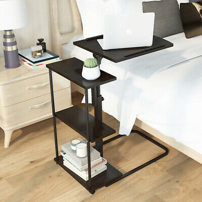 Mobile Laptop Desk Stand Notebook Computer Tray Adjustable Height Cart Portable
