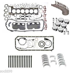BMW E39 E46 E53 E83 X5 M54 3.0 - Engine Rebuild Kit 01-06 Gasket Pistons Rings