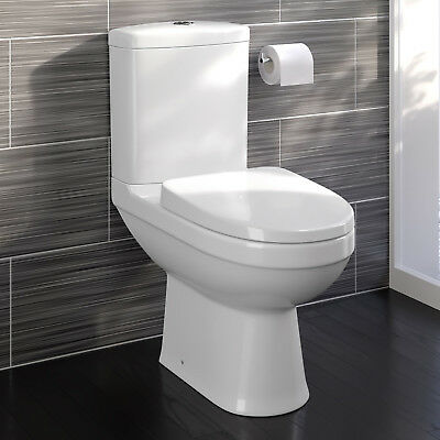 Modern White Ceramic Close Coupled Toilet Bathroom Pan Soft Close Seat WC