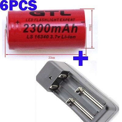 - 6pcs CR 123A UltraFire Rechargeable Battery Flashlight Torch+ Dual Charger US