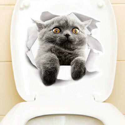 Home Decor Ahmedabad Vinyl Decal Cute 3D Cat Bedroom Toilet Restroom Refrigerator Wall Sticker Gray Home Decor Stainless Steel