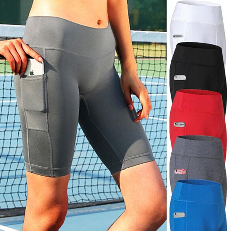 Women High Waist Yoga Shorts Biker Pocket Gym Hot Pants Bicy