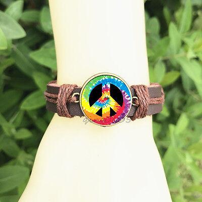 Tie Dye Peace Sign Brown Bangle 20 mm Glass Cabochon Leather Charm Bracelet