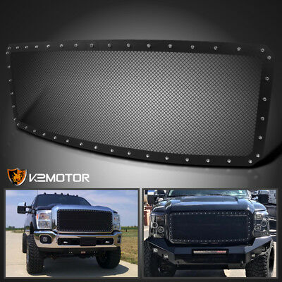2011-2016 Ford F250 Super Duty Black Rivet Style Upper Front Hood Grille Insert