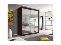 FULLY MIRRORED WHITE 2 DOOR SLIDING WARDROBE WITH SHELVES AND HANGING RAIL