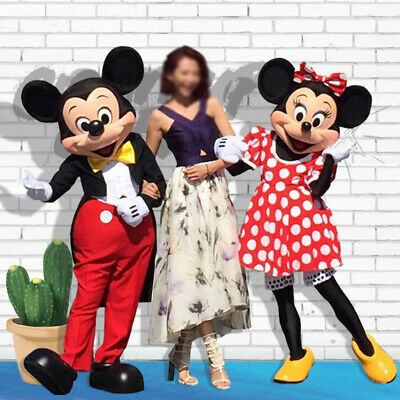 Mickey And Minnie Mouse Adult Costumes (Mickey and Minnie Mouse Mascot Costume Birthday Cosplay Party Dress Outfit)