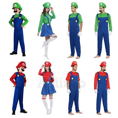 Mario Bros Costumes For Adults (For Super Mario Bros Luigi Cosplay Jumpsuit Unisex Adult Kids Carnival)