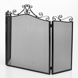 Trifold Antique Black Fireplace Screen