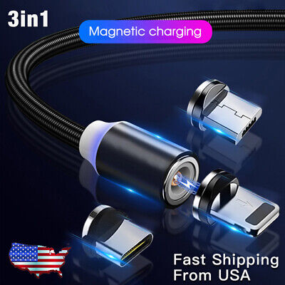 3 in 1 3A Magnetic Fast Charging Cable Micro USB Type C Charger Data Sync Cord