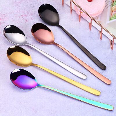 5pcs Stainless Steel Coffee Spoon Korean Long Handle Metal Spoons Dessert Scoop ()