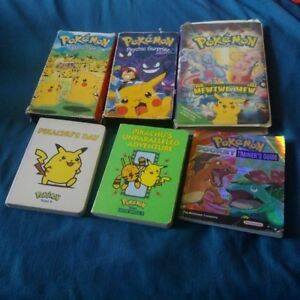 6 Pokémon item Lot...3 VHS Movies, 2 Board Books & 1 Paperback!