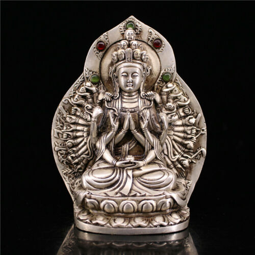 Unique Chinese white copper Handwork carved Thousand-Hand Kwan-yin pendant