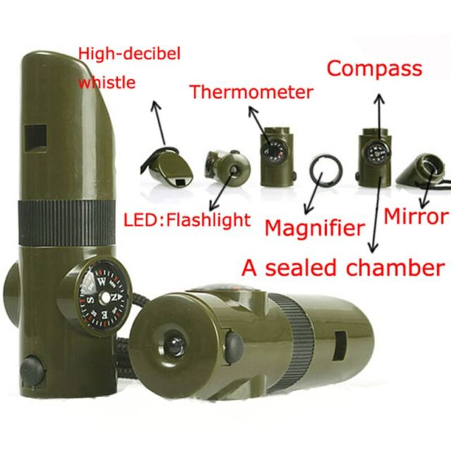 New 7 in 1 Field Survival Whistle Compass Thermometer Flashlight Magnifier