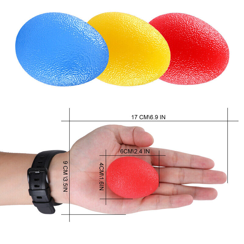 Exercise Grip Ball Hand Therapy Finger Squeeze Strength Trainer Relief Stress x3