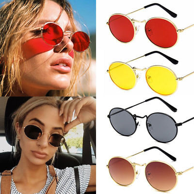 Women Round Sunglasses Small Oval Metal Lens Vintage Summer Shade Sun Glasses