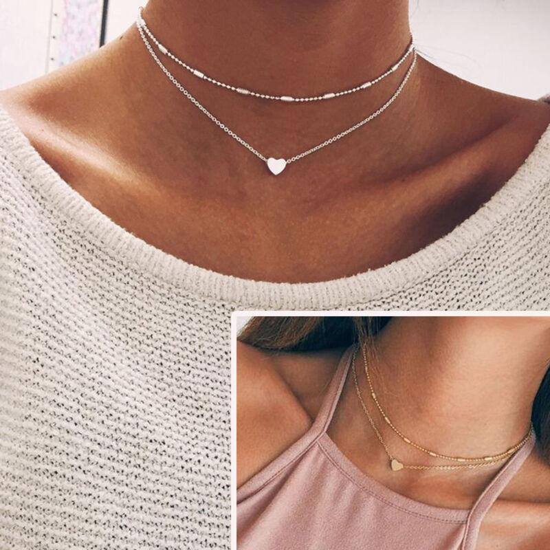 Jewellery - Women Simple Double Layers Chain Heart Pendant Necklace Choker Fashion Jewelry