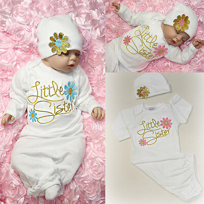 Girls Long Gown (US Newborn Baby Girls Long Sleeve Sleepwear Dress Nightwear Nightgown Hat)