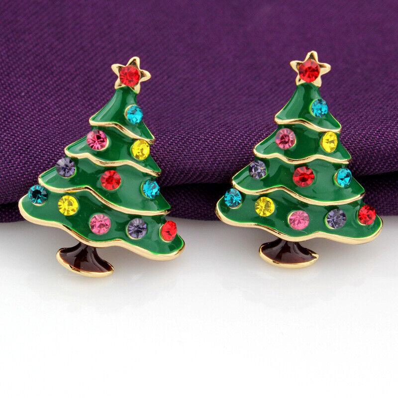 Betsey Johnson Rhinestone Green Enamel Christmas Tree Women'
