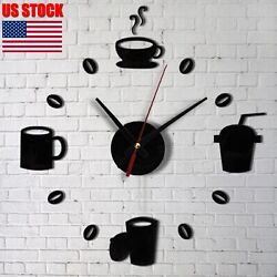 US Modern DIY Wall Clock 3D Mirror Surface Sticker Home Decor Self Adhesive Sale