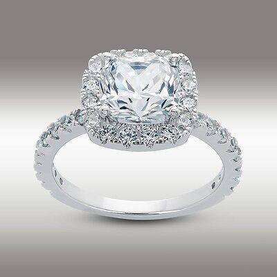 3.10 CT Cushion Cut Halo Lab Engagement Ring  w/accents in 14K Solid White Gold