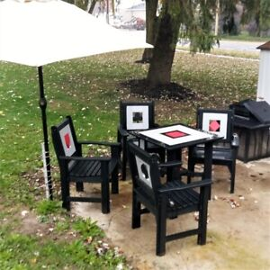 Recycled plastic table and chairs.   One of a kind.  NEW PRICE