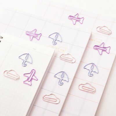 12pcs Cartoon Shape Mini Metal Clips Kawaii Stationery Photos Letter Paper Clip