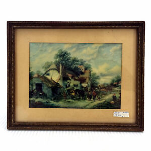 "Antique 1900 Painting Print Artwork 6.75""x4.75"" Wood/Glass Frame"