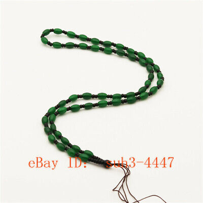 Handmade Braided Line Rope String Cord Green Jade Beads for DIY Pendant Necklace (Cord Green Pendant)