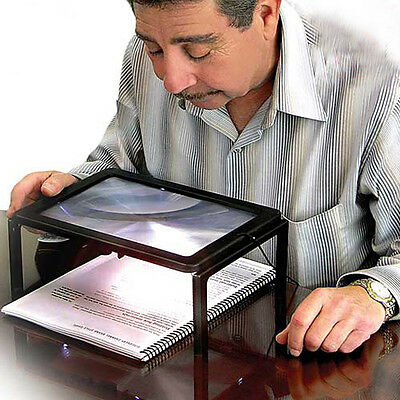 Magnifier With Light - Large A4 Page Hands Free 3x Magnifying Glass With Light LED Magnifier Reading
