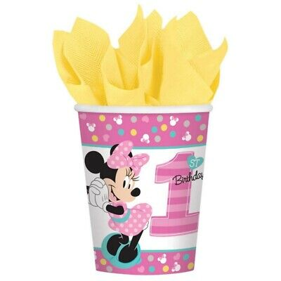 BABY MINNIE MOUSE FUN TO BE ONE CUPS PK8 BIRTHDAY PARTY SUPPLIES