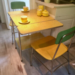 Yellow and chrome kitchen diner table